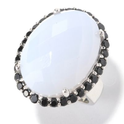 129-598 - Gem Insider Sterling Silver 21 x 15mm Blue Chalcedony & Spinel Oval Ring