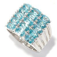 SS 6 ROW MQ RING BLUE ZIRCON