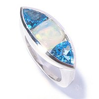 SS CUSHION ETHEOPIAN OPAL WITH SWISS BLUE TOPAZ RING