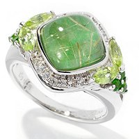 SS DOUBLET JADE AND RUT QTZ WITH PERIDOT WHT SAPP RING