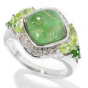 129-621 - Gem Insider Sterling Silver 4.06ctw Rutilated Quartz & Jade Doublet Ring