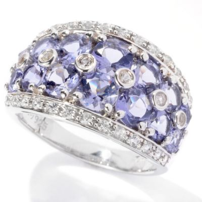 129-624 - Gem Insider Sterling Silver 2.11ctw Iolite & White Sapphire Band Ring