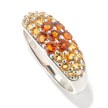 129-626 - Gem Insider Sterling Silver Pave Set ''Shades of Gemstone'' Ring
