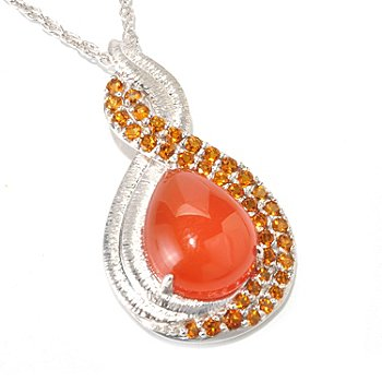 129-627 - Gem Insider Sterling Silver 14 x 11mm Teardrop Orange Quartz & Citrine Pendant