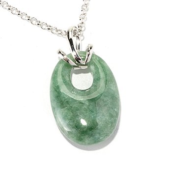 129-628 - Gem Insider Sterling Silver 22 x 15mm Oval Green Jade Pendant w/ Chain