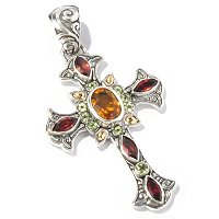 SS/ 18K CROSS PENDANT WITH CITRINE, GARNET, AND PERIDOT