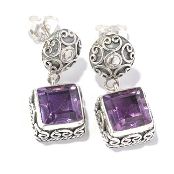 129-666 - Artisan Silver by Samuel B. Square Gemstone Drop Earrings
