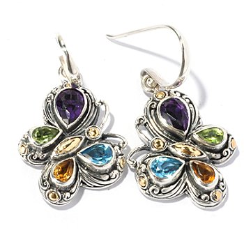129-668 - Artisan Silver by Samuel B. 5.05ctw Multi Gemstone Butterfly Earrings