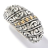 SS/ 18K BALINESE DESIGN RING