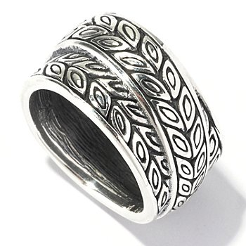129-684 - Artisan Silver by Samuel B. Leaf Design Overlay Ring