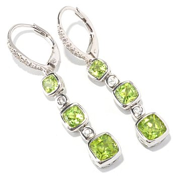 129-685 - Gem Insider Sterling Silver Gemstone & White Sapphire Drop Earrings
