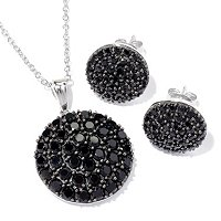Sterling Silver Pave Black Spinel Pendant & Earring Set