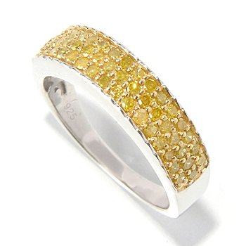 129-699 - Diamond Treasures Sterling Silver 0.50ctw Pave Set Fancy Colored Diamond Band Ring