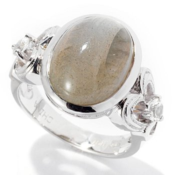 129-722 - Gem Insider Sterling Silver 14 x 10mm Oval Labradorite & White Topaz Ring