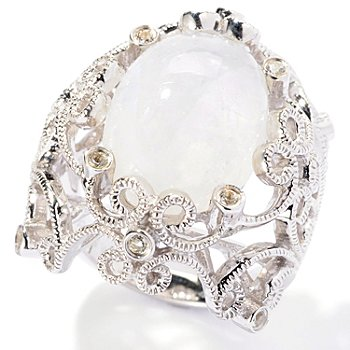 129-723 - Gem Insider Sterling Silver 16 x 12mm Oval Moonstone & Topaz Filigree Ring