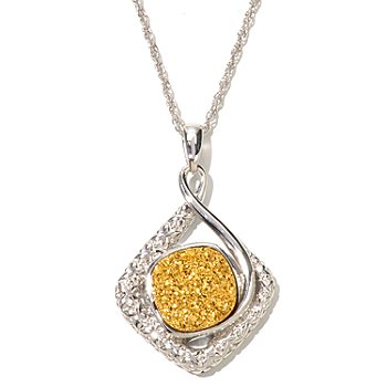 129-727 - Gem Insider Sterling Silver 12 x 12mm Cushion Shaped Drusy Pendant w/ Chain
