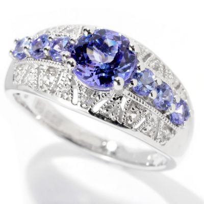 129-729 - Gem Insider Sterling Silver 1.10ctw Tanzanite & White Sapphire Band Ring