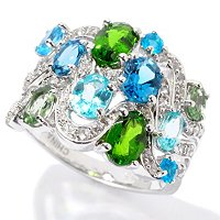 SS MULTI GEM RING CHROME, AQUA APATITE