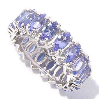 129-741 - Gem Treasures Sterling Silver 4.59ctw Marquise Shaped Tanzanite Eternity Band Ring