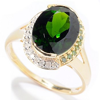 129-742 - Gem Treasures 14K Gold 4.06ctw Chrome Diopside & Fancy Color Diamond Ring