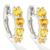 SS SMALL 4 STONE HOOP EARRING CHOICE OF FANCY SAP