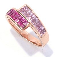 14K RG INV SET RUBY AND PINK SAPP RING