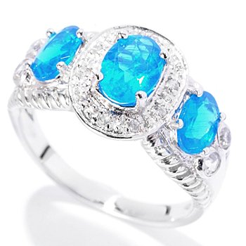 129-745 - Gem Treasures Sterling Silver 1.52ctw Apatite & White Zircon Three-Stone Ring