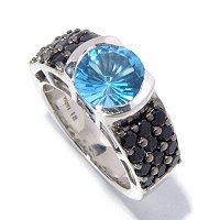SS ROUND SWISS BLUE TOPAZ WITH SPINEL MENS RING