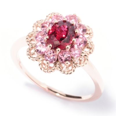 129-749 - Gem Treasures 14K Rose Gold 1.50ctw Red Spinel & Pink Tourmaline Ring
