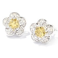 SS FLOWER EARRING WITH YELLOW BERYL WHT DIAMOND