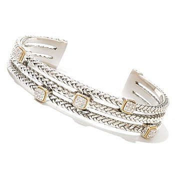129-754 - Sterling Artistry by EFFY Two-tone 6.75'' 0.21ctw Diamond Rope Cuff Bracelet