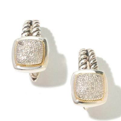 129-755 - Sterling Artistry by EFFY Two-tone 0.21ctw Diamond Drop Earrings