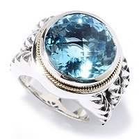 SILVER/ 18K BLUE TOPAZ RING