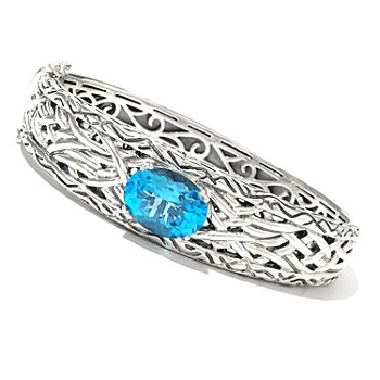 129-760 - Sterling Artistry by EFFY 7'' Blue Topaz Bangle Bracelet
