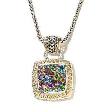 129-761 - Sterling Artistry by EFFY 5.00ctw Multi Gemstone Square Shaped Pendant w/ Chain