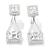 TYCO SS/PLAT SQUARE AND RECTANGLE HALO DROP EARRINGS
