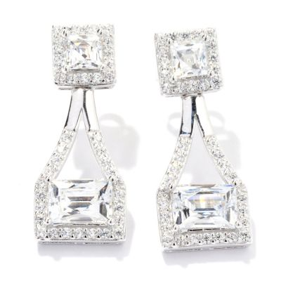 129-775 - TYCOON for Brilliante® 3.60 DEW Platinum Embraced™ Square & Rectangle Halo Drop Earrings