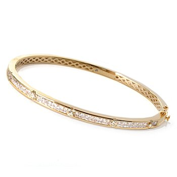 129-779 - TYCOON for Brilliante® Gold Embraced™ 5.23 DEW Pink & White Bangle Bracelet