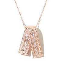 "TYCO SS/CHOICE RECTANGLE AND PAVE RIBBON PENDANT W/ 18"" CHAIN"
