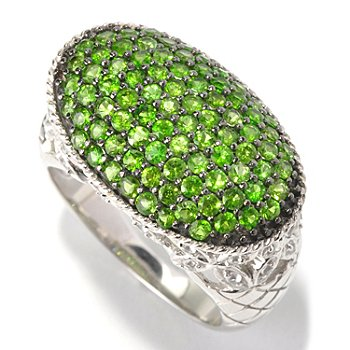 129-785 - Gem Treasures Sterling Silver 1.55ctw Diopside & White Topaz Oval East-West Ring