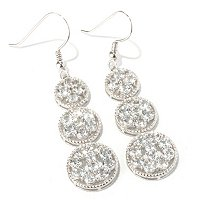 SS 3 CIRCLE DROP EARRING WHITE TOPAZ