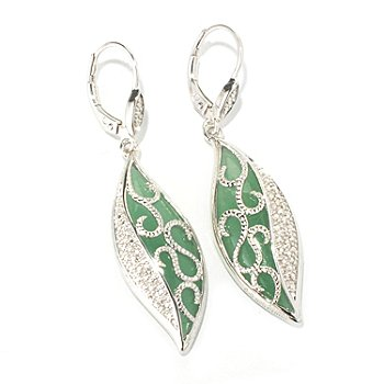129-790 - Gem Insider Sterling Silver 28 x 10mm Marquise Shaped Aventurine Dangle Earrings