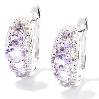 129-791 - Gem Insider Sterling Silver Fancy Color Gemstone & Diamond Earrings