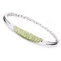 "SS 7.5"" CUFF BRAC WITH PERIDOT AND PAVE CHROME"