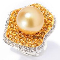 SS 11-12mm GOLDEN SOUTH SEA & WHITE SAPPHIRE & CITRINE RING