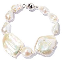 "SS 8"" WHITE BAROQUE & CUSHION FWP BRACELET w/MAGNETIC CLASP"