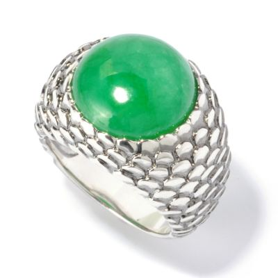 129-808 - Sterling Silver 13mm Round Green Jade Snake Skin Ring