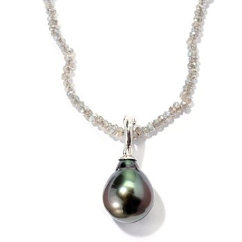 129-811 - Sterling Silver 12-13mm Exotic Cultured Pearl Enhancer w/ 36'' Gem Chip Necklace