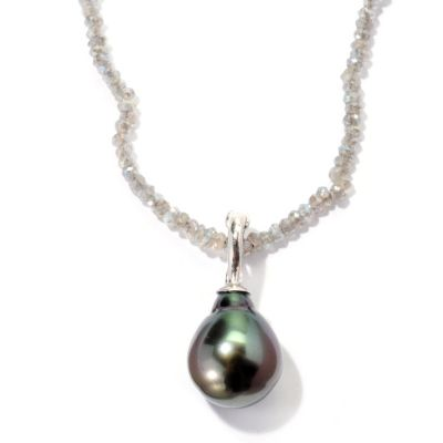 "129-811 - Sterling Silver 12-13mm Exotic Cultured Pearl Enhancer w/ 36"" Gem Chip Necklace"