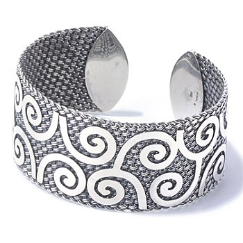 129-814 - Artisan Silver by Samuel B. 7'' Adjustable Spiral Design Cuff Bracelet